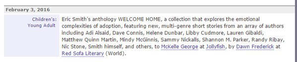 WELCOME HOME publishers marketplace announcement